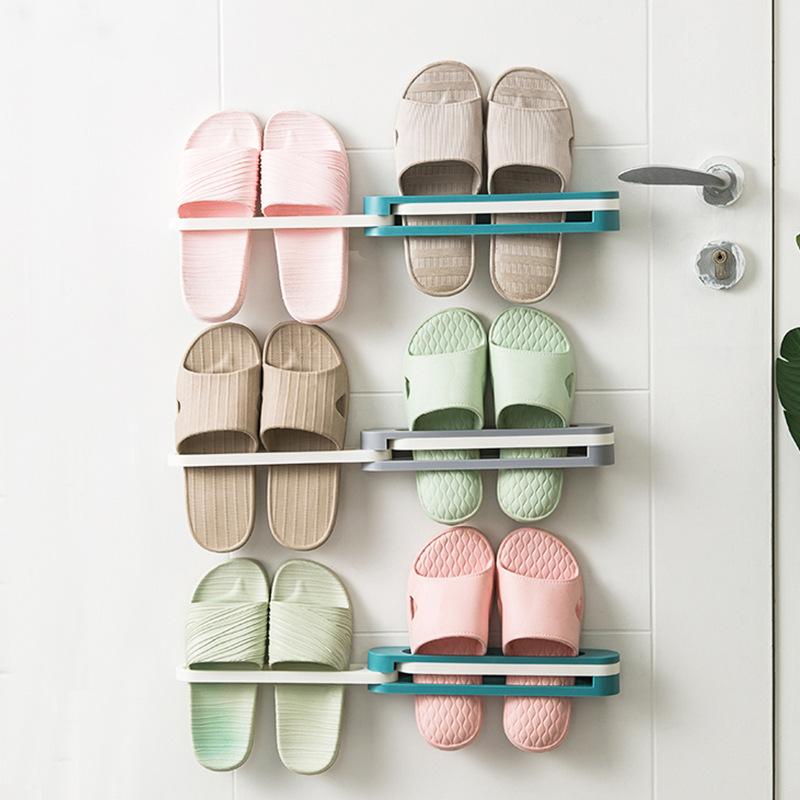 【NikoKids】創意家居/一變三可折疊浴室拖鞋架/免打孔/牆上瀝水置物架/毛巾架 BB046