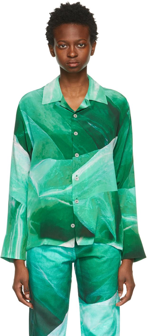 Serapis 绿色真丝衬衫