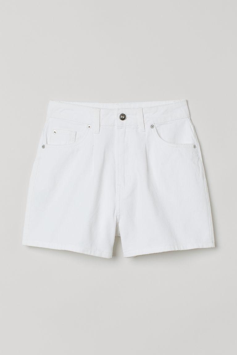 H & M - 高腰斜紋短褲 - 白色