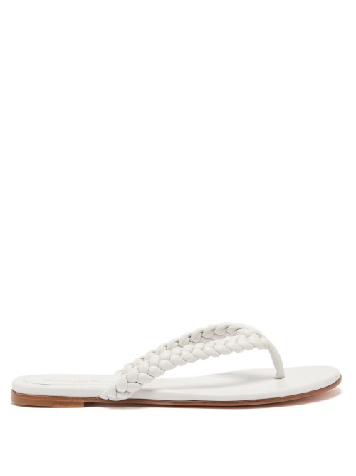 Gianvito Rossi - Tropea Braided-leather Flip Flops - Womens - White