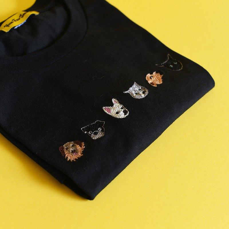 客製化寵物刺繡 TEE 遛六大順
