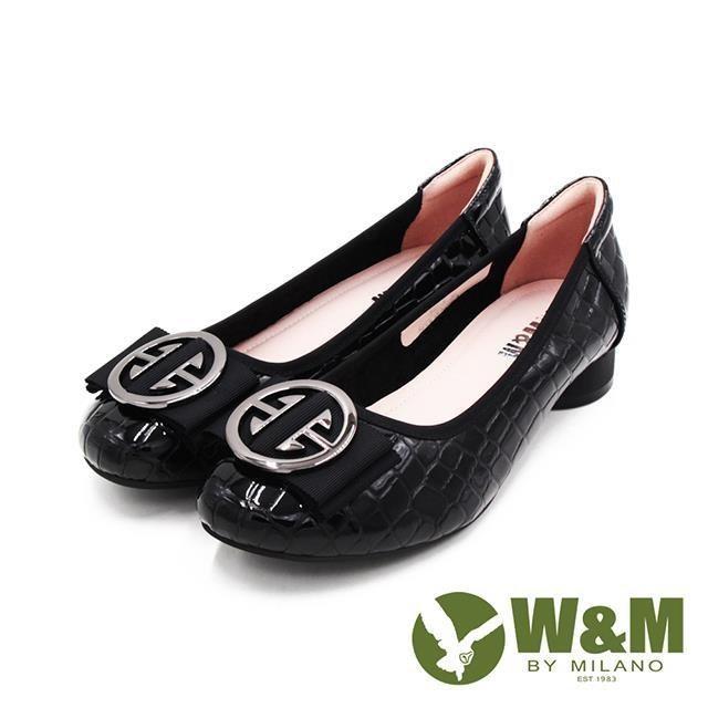 W&M (女)方圓頭飾釦漆皮娃娃鞋 包鞋 女鞋 -亮黑