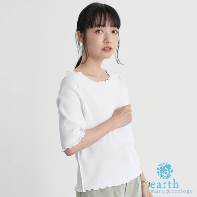 earth music 木耳捲邊船型領短袖T恤