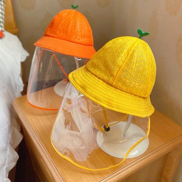 防飛沫嬰兒帽子夏季薄款夏天寶寶漁夫帽兒童防護罩遮陽防曬太陽帽 印象家品旗舰店