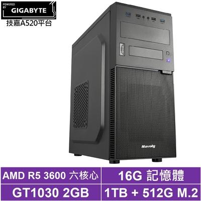 技嘉A520平台[異境俠盜]R5六核GT1030獨顯電玩機