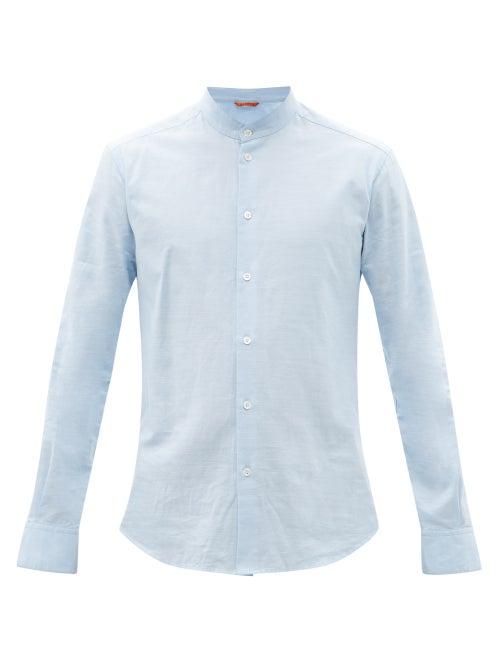 Barena Venezia - Naci Stand-collar Cotton-oxford Shirt - Mens - Light Blue