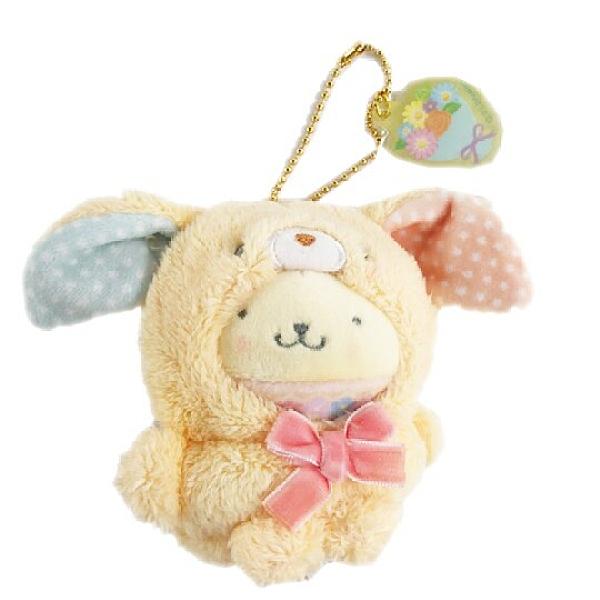 小禮堂 布丁狗 絨毛吊飾 兔耳吊飾 玩偶吊飾 玩偶鑰匙圈 (黃 2021復活節) 5550337-50887