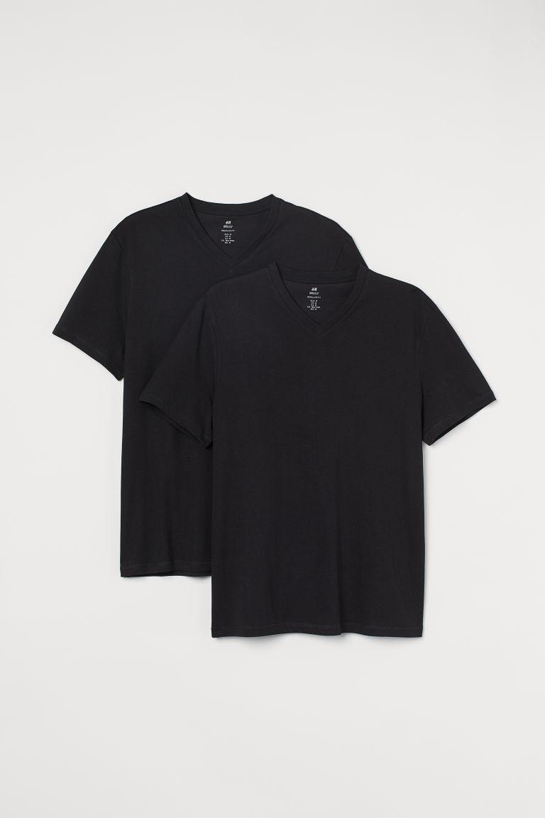 H & M - 2件入COOLMAX®纖維T恤 - 黑色