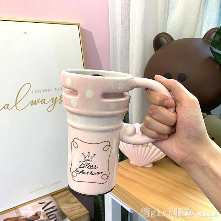 馬克杯 純手工手繪馬克杯大容量卡通彩繪杯子手柄帶蓋早餐牛奶麥片杯學生 摩可美家