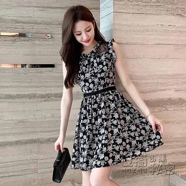 蕾絲洋裝 夏季新款矮小個子無袖蕾絲碎花a字洋裝女洋氣質顯瘦高 衣櫥秘密