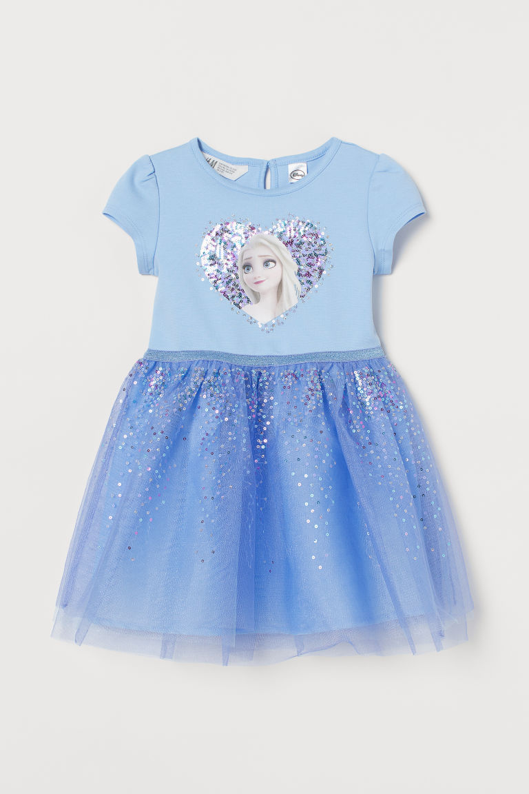 H & M - 平紋薄紗洋裝 - 藍色