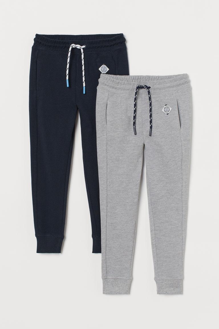 H & M - 2件入網眼慢跑褲 - 藍色
