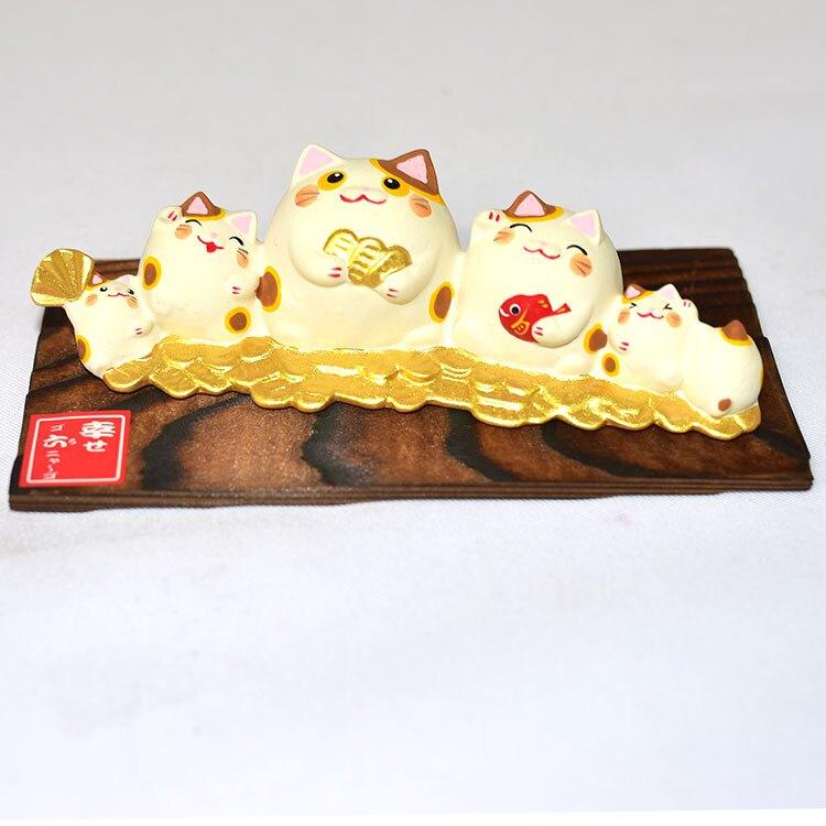 幸福六 招財貓 吉祥物 開運擺飾 陶製 龍虎作 日本正版