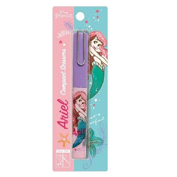 小禮堂 迪士尼 小美人魚 攜帶式剪刀 筆型剪刀 事務剪 小剪刀 事務用品 (粉 側身) 4580468-27086