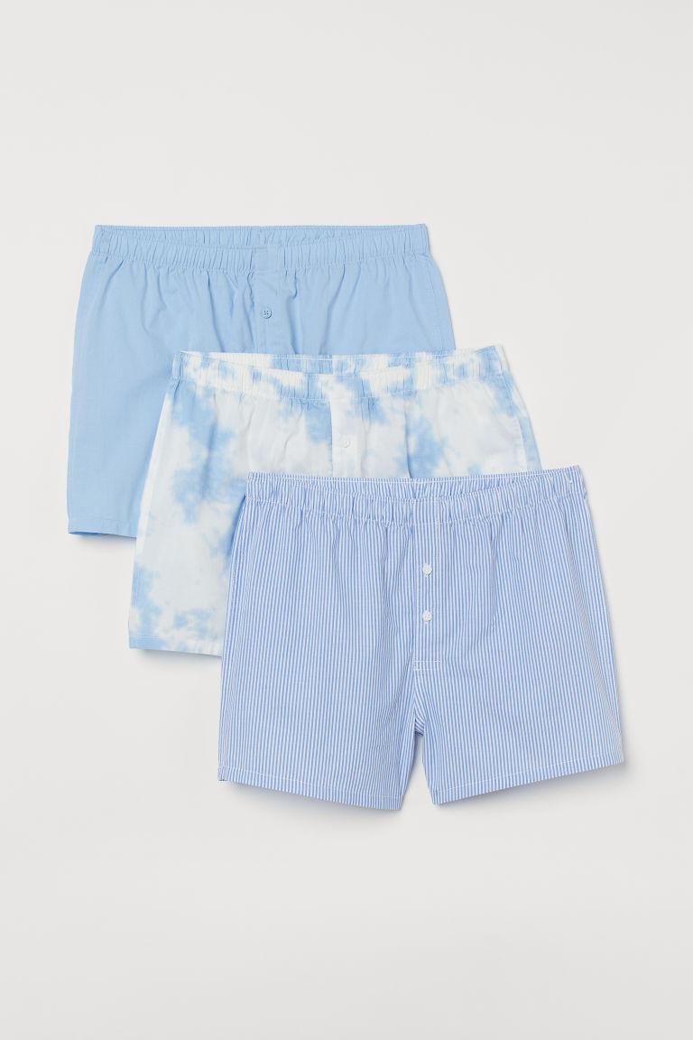 H & M - 3件入平織四角褲 - 藍色