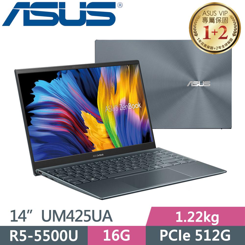 ASUS ZenBook14 UM425UA-0022GR55500U 綠松灰(R5-5500U/16G/PCIe512G/14/FHD/400Nits)