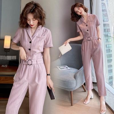 時尚粉氣質條紋西裝領腰帶衣褲套裝S-XL-SZ