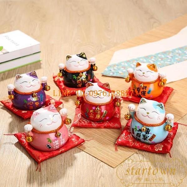招財貓擺件小號可愛陶瓷存錢罐創意辦公桌飾品開業禮物【繁星小鎮】