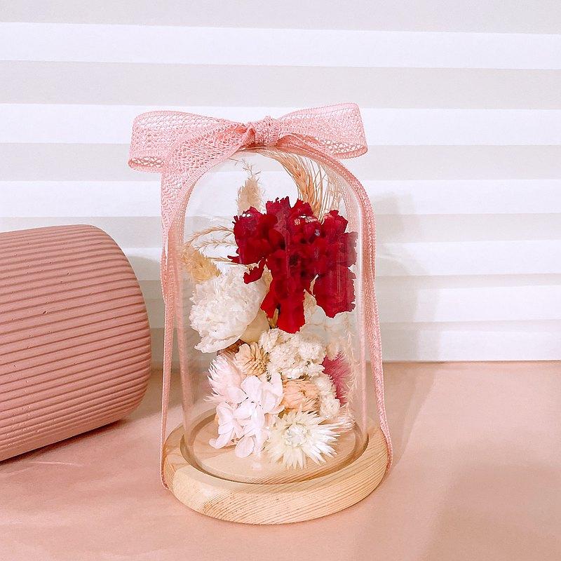 感恩傳情 x 不凋康乃馨乾燥花玻璃罩