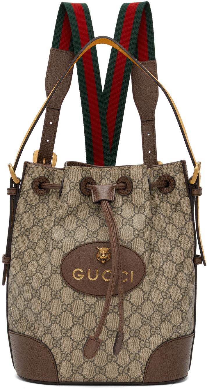 Gucci 驼色 GG Supreme 双肩包