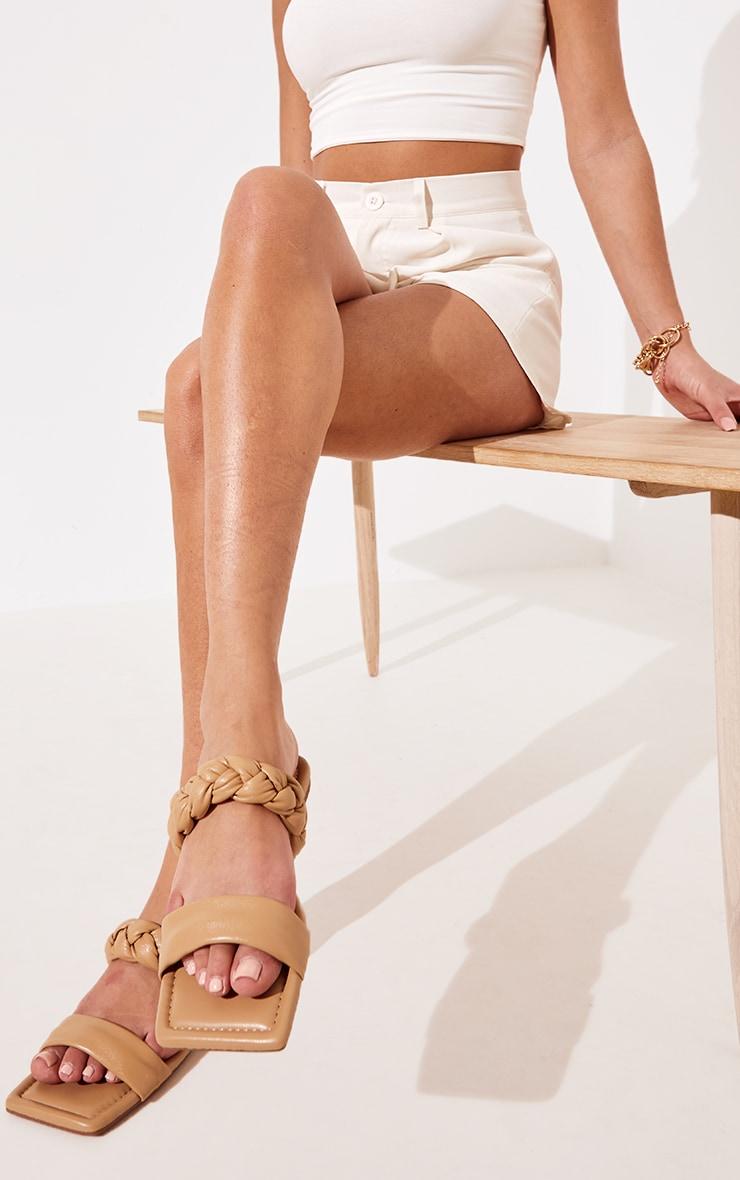 Sand PU Double Strap Plaited Mule Sandals
