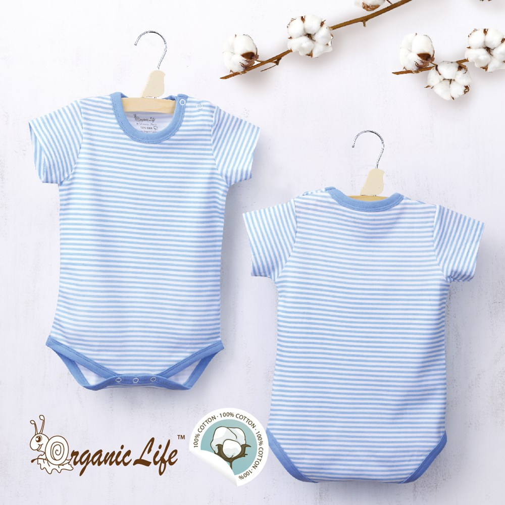 【結帳再8折】Organic Life短袖嬰兒連身包屁衣-藍條紋(0-12M)