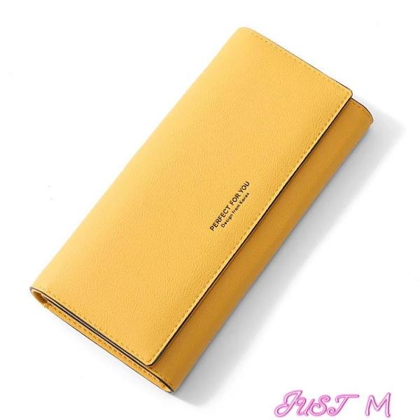 長夾卡包黃色錢包招財手機包2021新款女士長款手拿包簡約時尚搭扣女式 JUST M