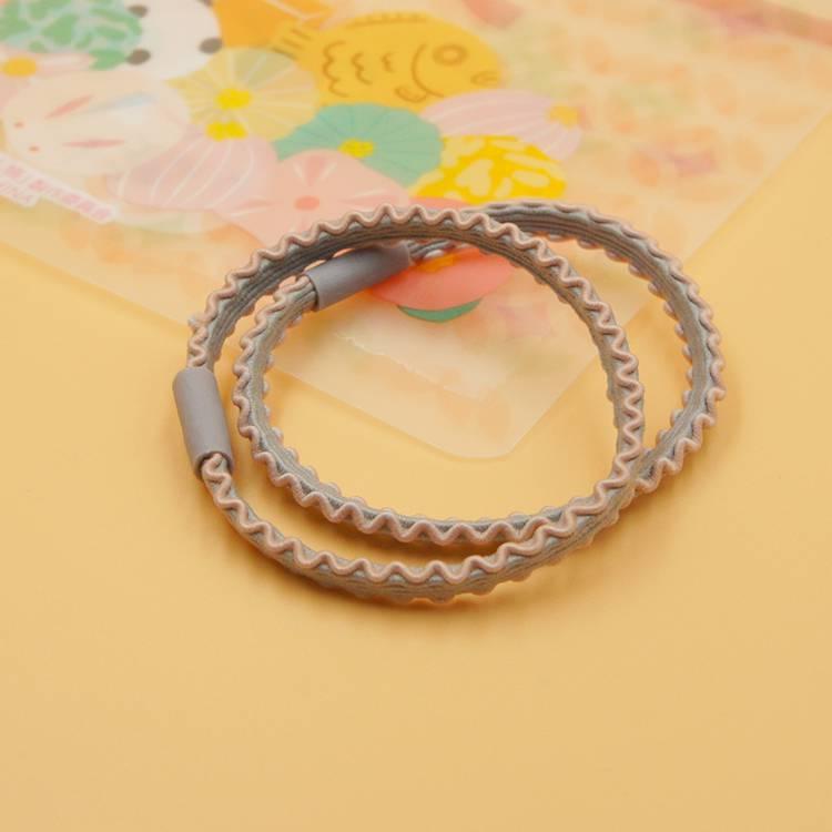韓國製G&G 撞色髮圈組-2入/花邊造型髮飾/灰粉色