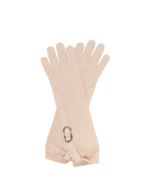 Brunello Cucinelli - Monili-buckle Cashmere Gloves - Womens - Beige