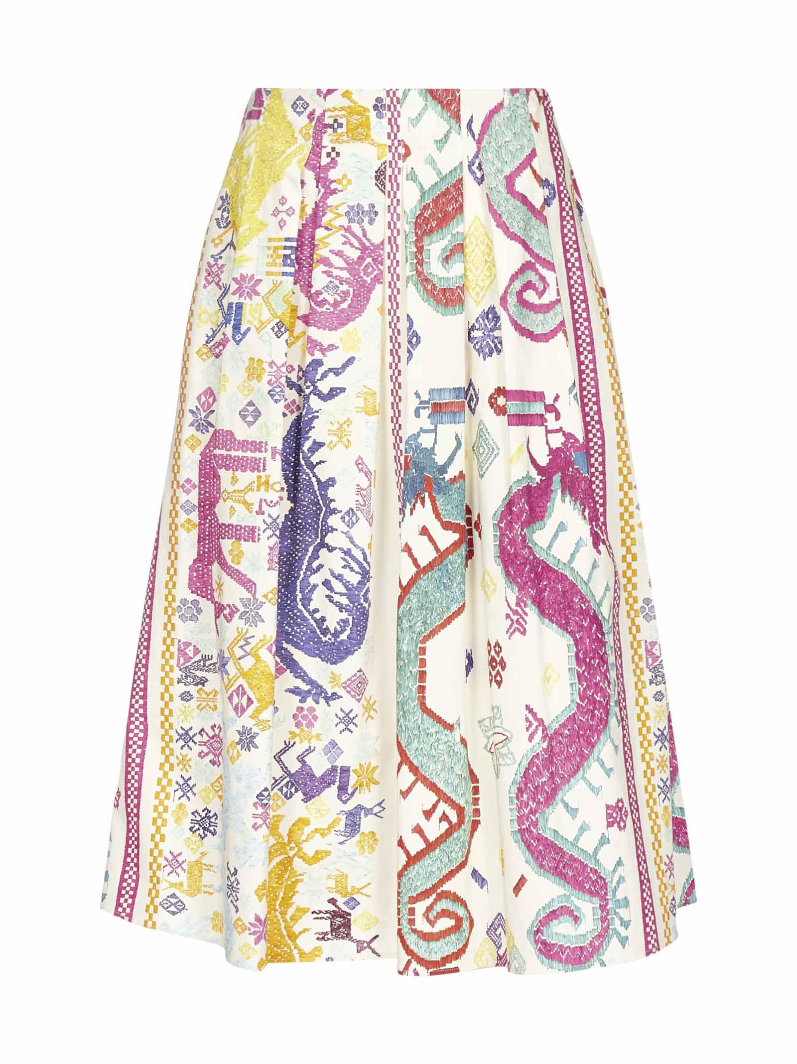 Etro Lampedusa Ethnic Print Cotton Skirt