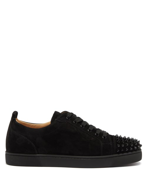 Christian Louboutin - Louis Junior Spike-embellished Suede Trainers - Mens - Black
