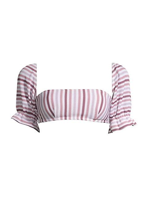 Striped Puff-Sleeve Bandeau Bikini Top