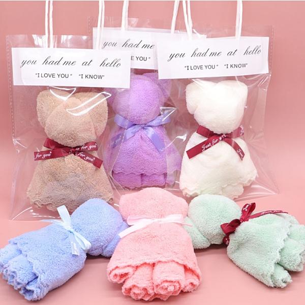蛋糕毛巾 珊瑚绒毛巾小熊吸水毛巾 婚慶伴手禮 小熊造型【庫奇小舖】