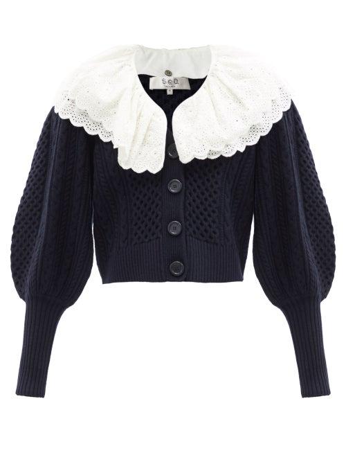 Sea - Melanie Removable-collar Puff-sleeve Wool Cardigan - Womens - Navy White