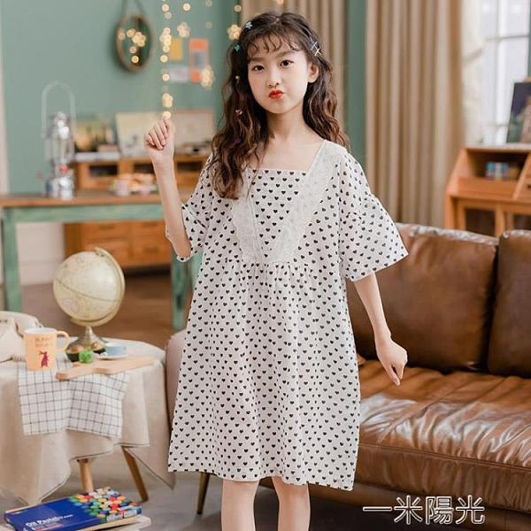 女童睡衣夏季兒童純棉家居服親子母女薄款空調服大童可愛超萌睡裙 一米陽光