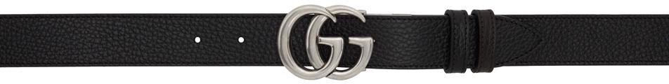 Gucci 黑色 & 棕色 GG Marmont 窄版双面腰带