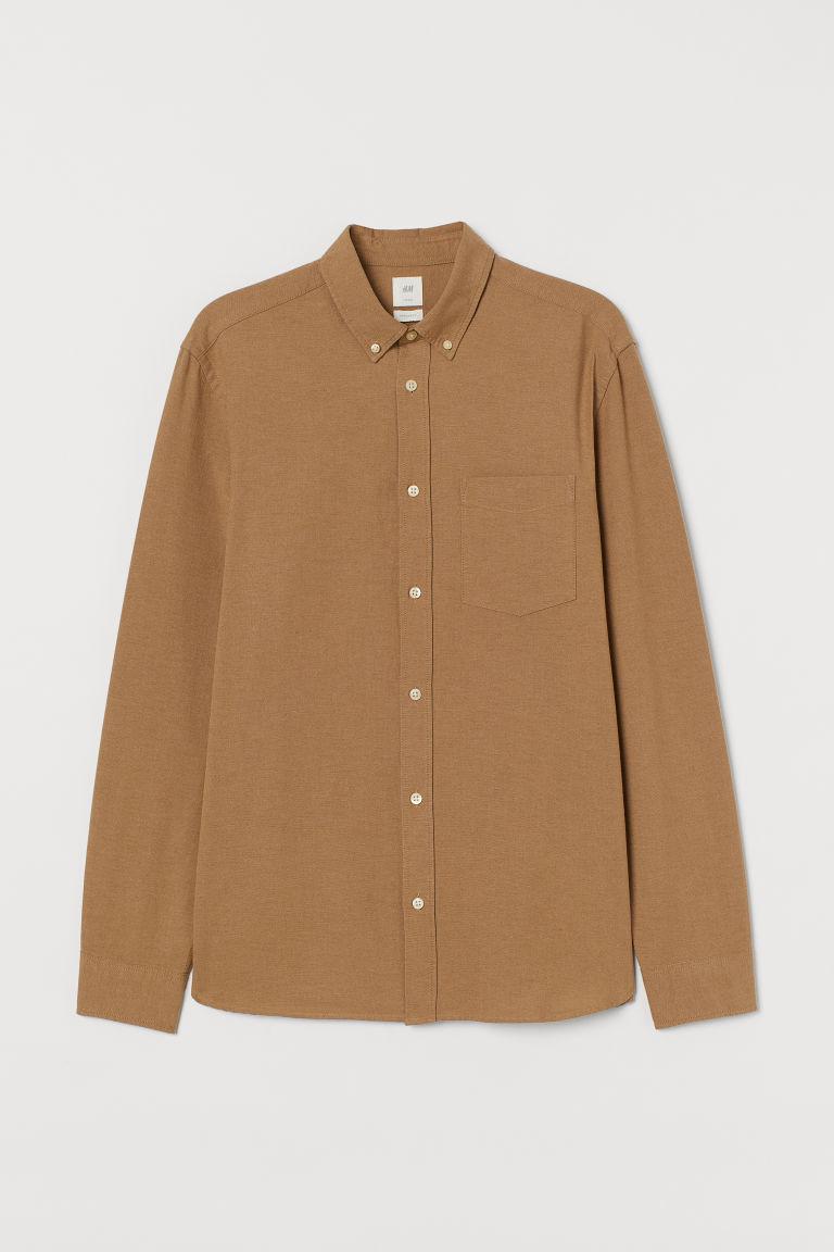 H & M - 標準剪裁牛津襯衫 - 米黃色