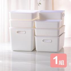 真心良品 日系純白無雙附蓋衣櫥收納盒-7入組