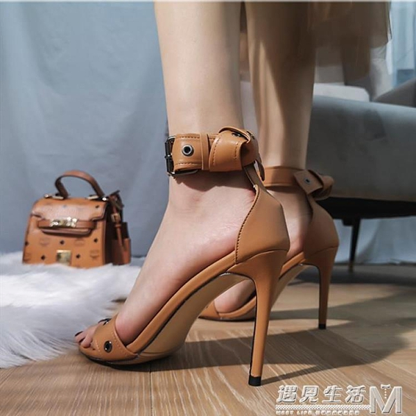 防水台高跟鞋夏季新款網紅時尚羅馬一字帶涼鞋細跟性感女鞋子 遇見生活
