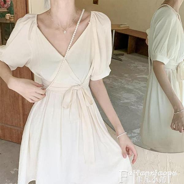雪紡洋裝 夏裝2021年新款茶歇法式初戀白色雪紡連身裙子夏季大碼女裝微胖mm 【618 大促】
