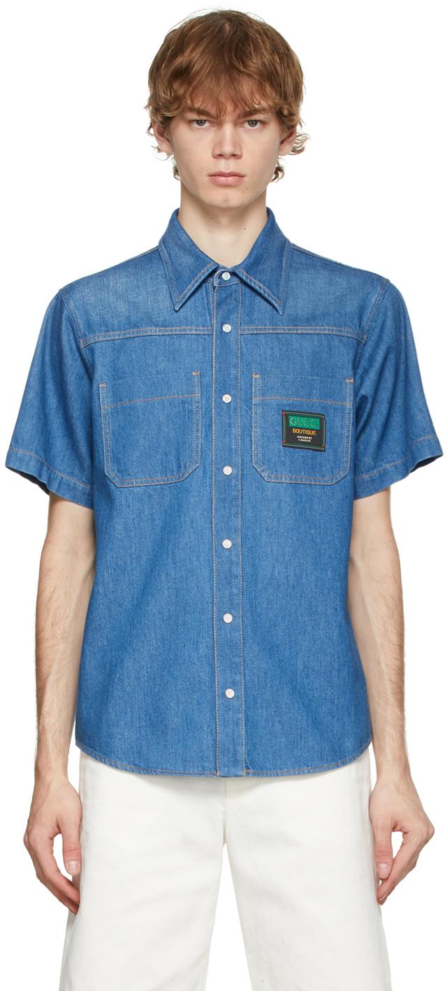 Gucci 蓝色贴饰牛仔短袖衬衫