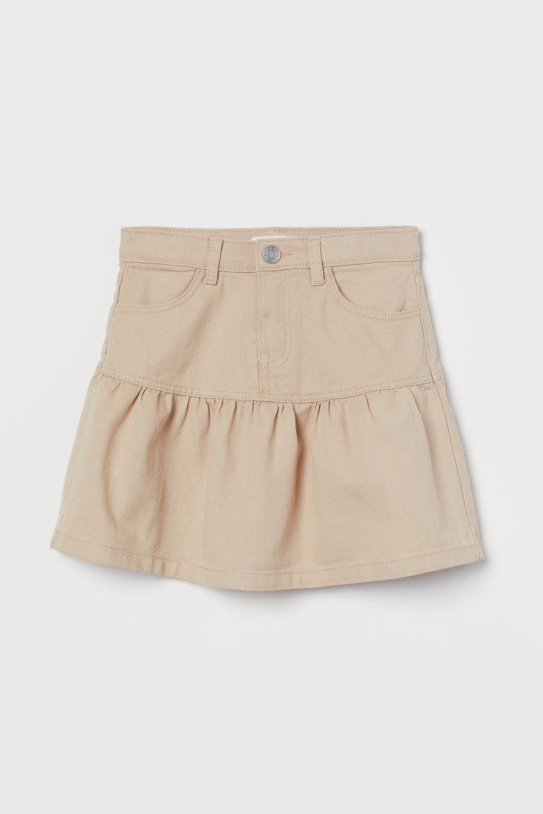 H & M - 荷葉邊斜紋裙 - 米黃色