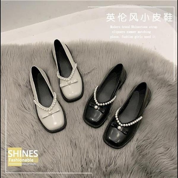 樂福鞋 珍珠仙女豆豆鞋子女2021年新款春季復古法式單鞋厚底小皮鞋樂福鞋 伊蘿