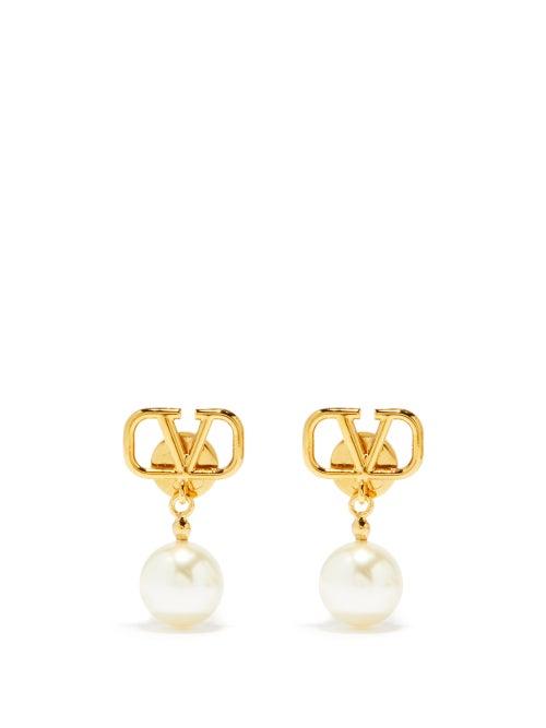 Valentino Garavani - V-logo Pearl-drop Earrings - Womens - Pearl