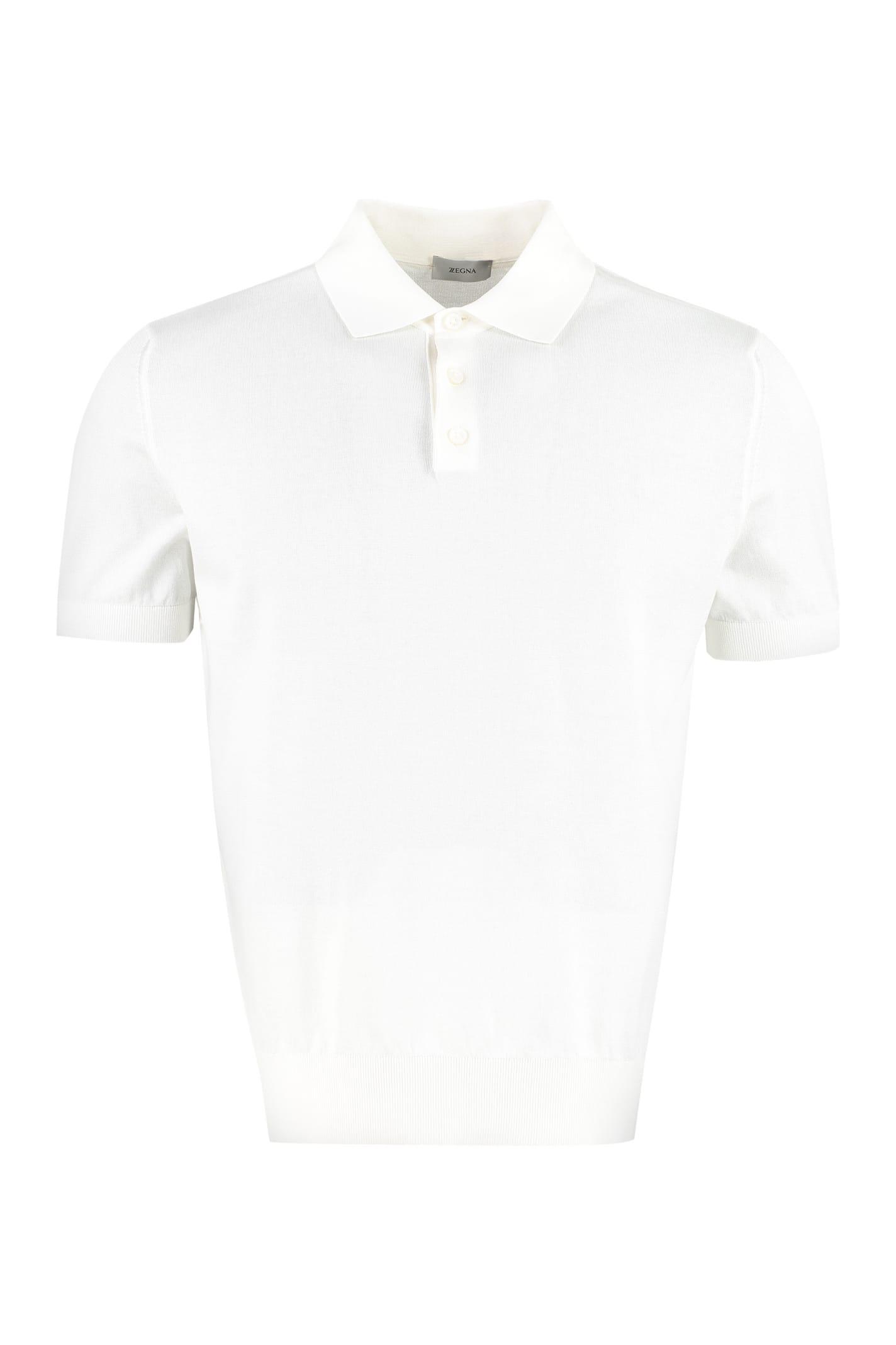 Z Zegna Cotton Knit Polo Shirt