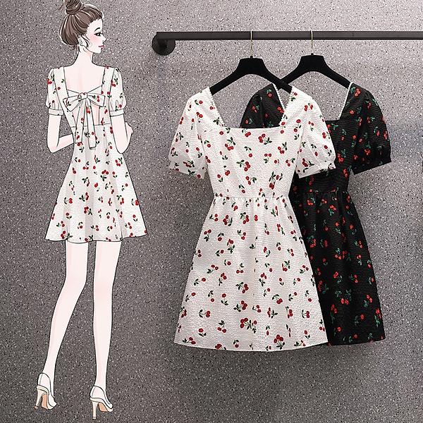 a字裙短裙洋裝L-4XL方領釘珠櫻桃印花連身裙設計感露背心機裙子3F060.5050 依品國際