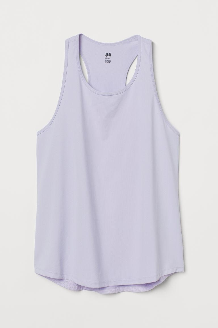 H & M - 網布細節運動上衣 - 紫色