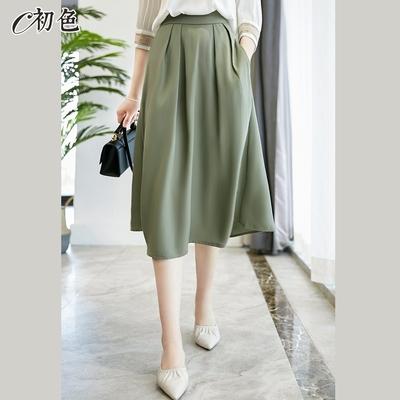 初色  高腰氣質A字裙-共3色-(M-XL可選)