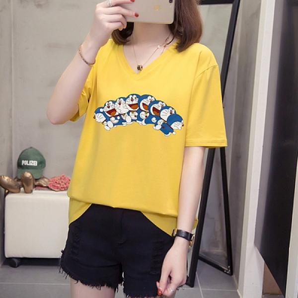 短T~L-4XL胖妹妹大碼短T~V領純棉印花T恤 21016.R26衣時尚
