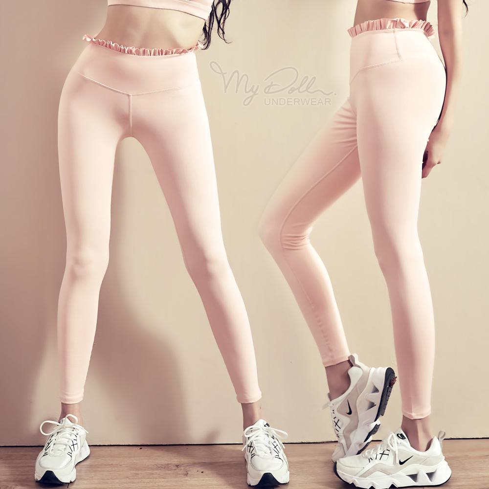 S-2L 運動褲 低強度瑜珈速乾荷葉邊優雅運動褲 HS1215 (黑x粉色)  MyDoll